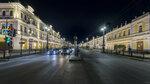 Ночной Любинский проспект замер перед пешеходным переходом