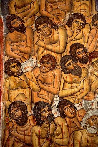 Святые Сорок Мучеников Севастийских. Фреска церкви Панагии Форвиотиссы в Асину, Кипр.