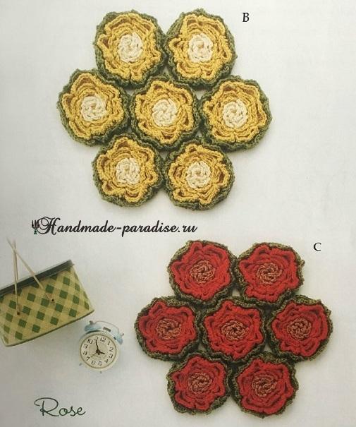 Цветочные сидушки и коврики крючком. Схемы (6)
