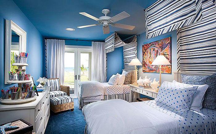 3. Спальня в синих тонах от Wissmach Architects