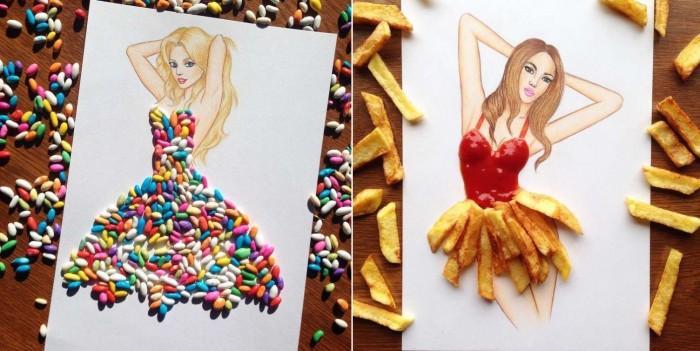 Аппетитные платья, сделанные из еды