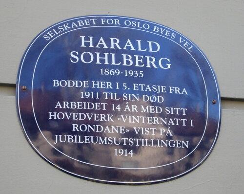 Harald Sohlberg bla plakett General Birchs gate 32 Oslo