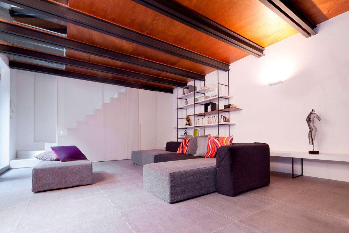 Балки под потолком в интерьере