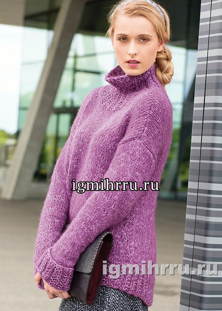 Просторный свитер с удлиненной спинкой. Вязание спицами
