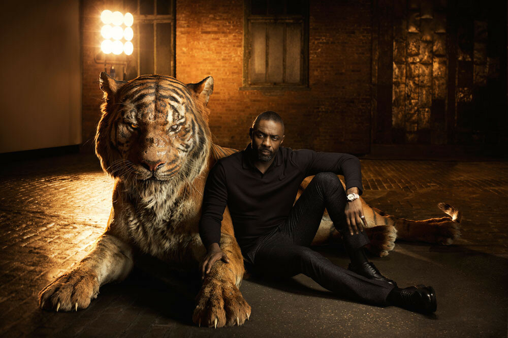 "THE JUNGLE BOOK - Voiced by Idris Elba, Shere Khan bears the scars of man, which fuel his hatred of humans. Convinced that Mowgli poses a threat, the bengal tiger is determined to rid the jungle of the man-cub. ""Shere Khan reigns with fear,"" says Elba. ""He terrorizes everyone he encounters because he comes from a place of fear.""..Photo by: Sarah Dunn. ©2016 Disney Enterprises, Inc. All Rights Reserved."