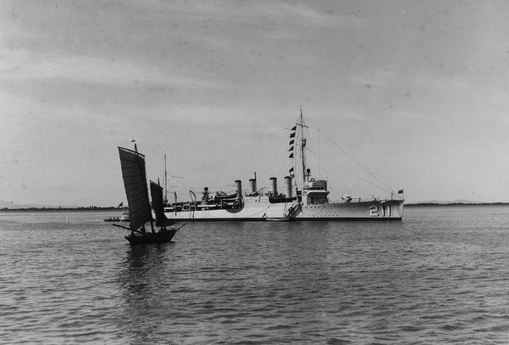 USS Alden (DD-211) At Chefoo, China on 1 January 1937. A sampan is under sail in the foreground.