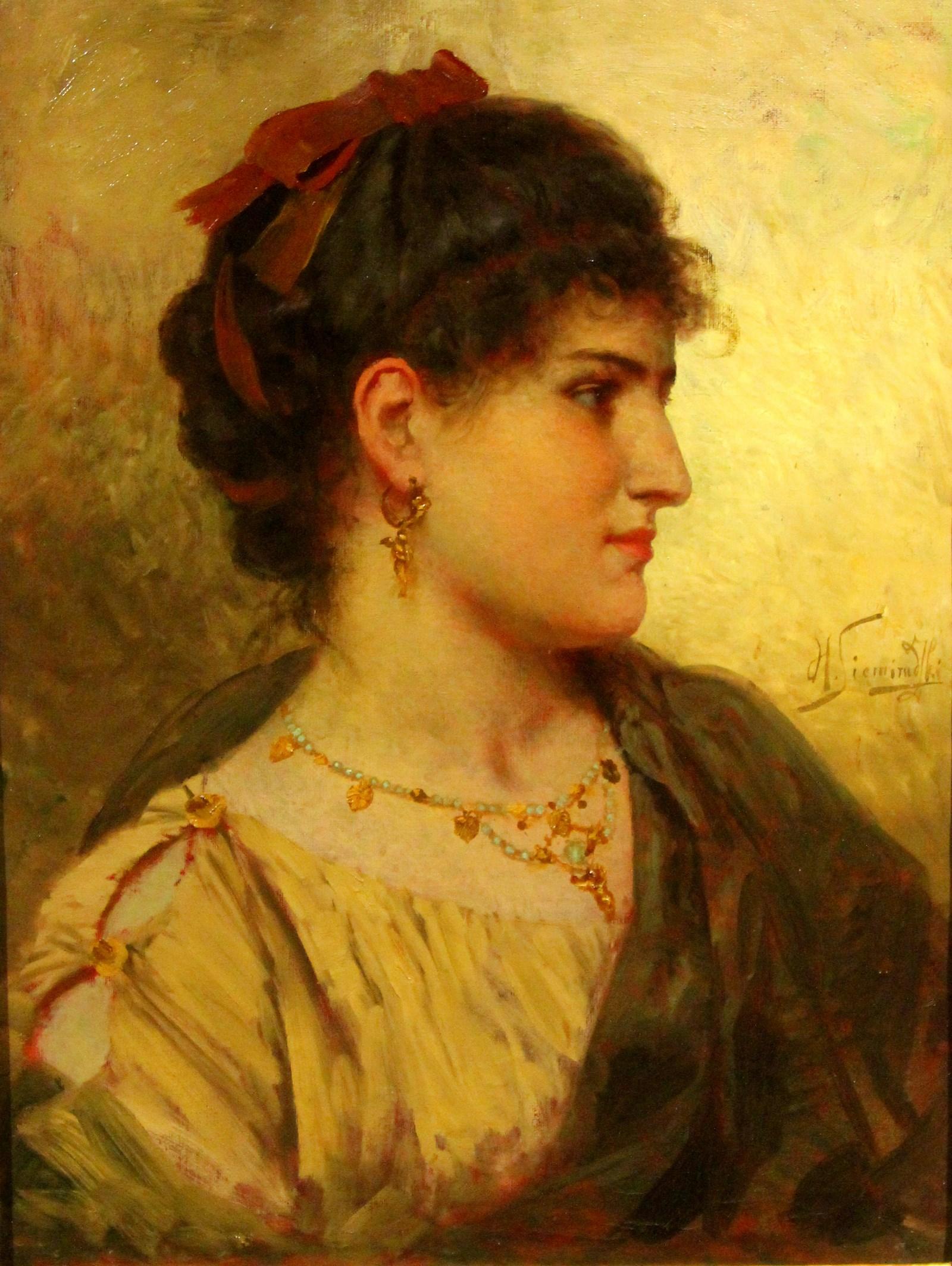 Семирадский Г.И. 1843-1902 Портрет молодой женщины (Римлянка). До 1896 Холст, масло. Латвийский Национальный художественный музей