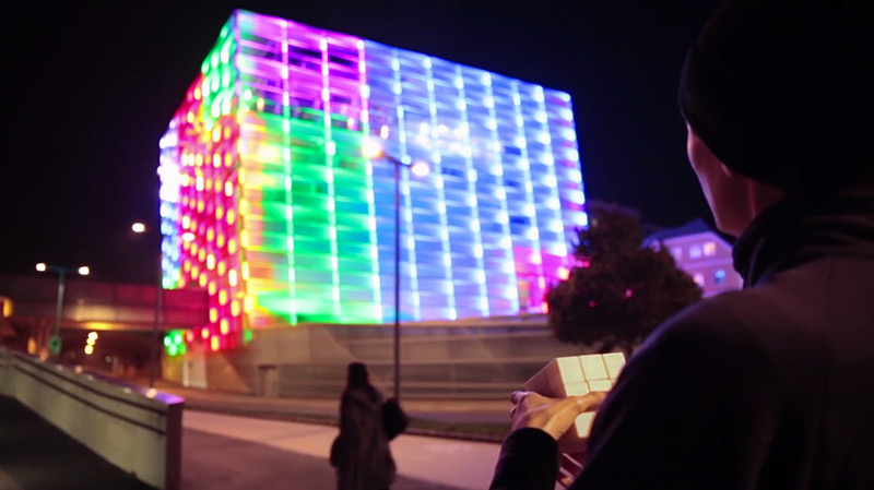 Puzzle Facade: Ars Electronica's Media Building Turned into a Giant Interactive Rubik's Cube