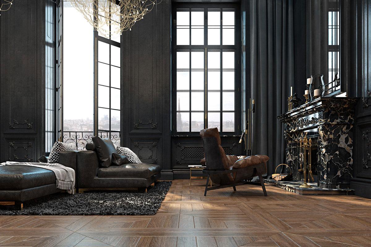 Ирина Джемесюк, Виталий Юров, Paris Apartment, диван Busnelli, кресло Arketipo, торшер Delightfull, люстра Baxter, квартира в темных тонах фото