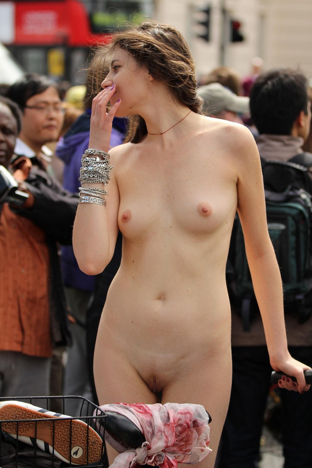 Nude girl head not showing, jism on pussy