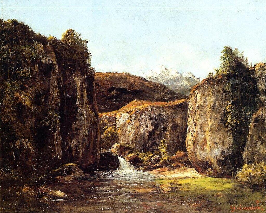 Гюстав Курбе: Пейзаж: источник среди скал департамента Ду