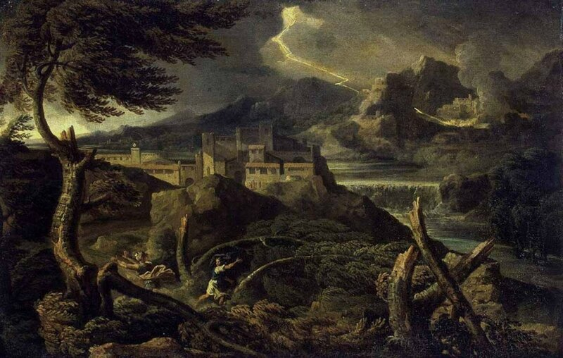 Г. Дюге. Пейзаж с молнией. 1667-1669