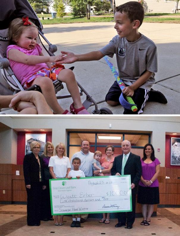 8-летний мальчик выиграл 1000 долларов в игре Scavenger Hunt и отдал выигрыш соседской девочке, леча
