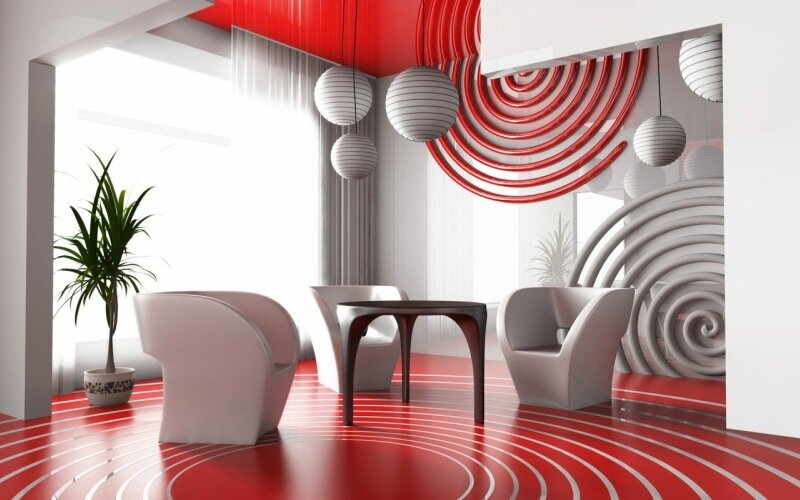 красно-белая комната минимализм