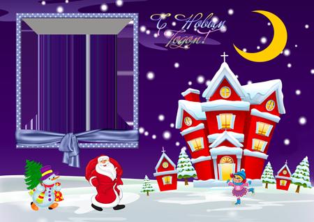 Рамка на Новый год с Дедом морозом и снеговиком около красного рождественского домика