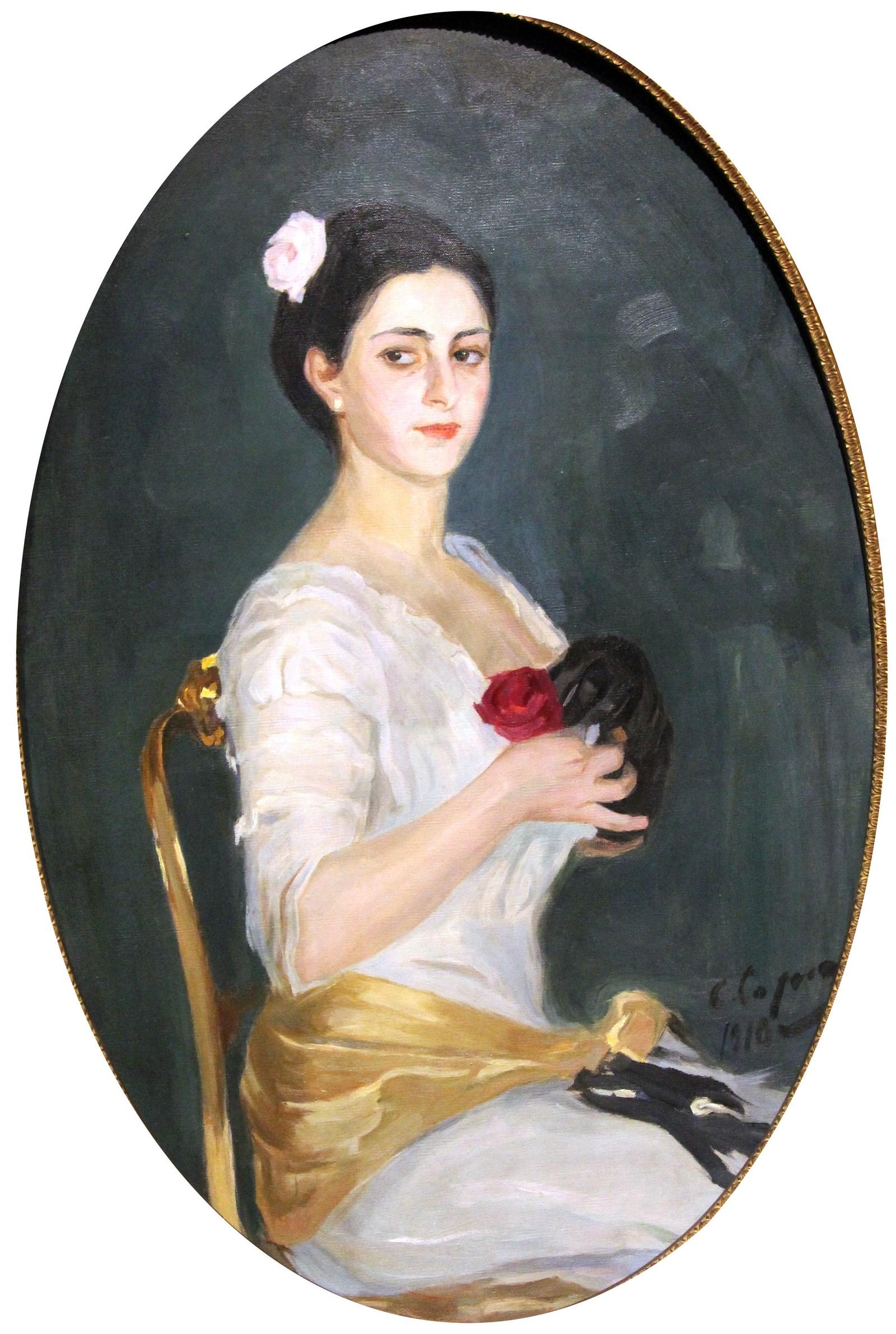 Сорин С.А. 1878-1953 Женщина с розой. 1910 Холст, масло. Из корпоративной коллекции Белгазпромбанка