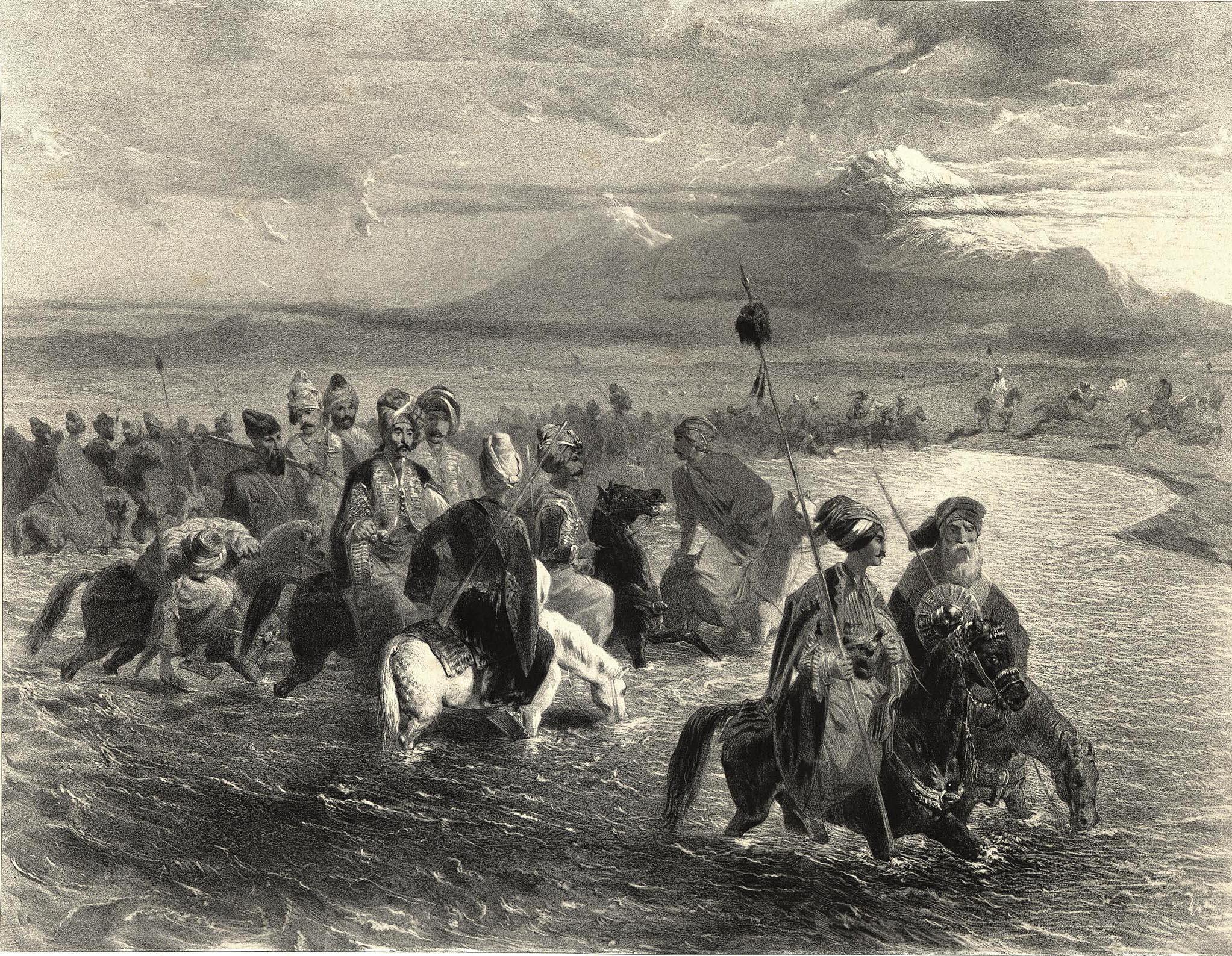 14. Armenie. Tribu kurde passant un gue sur L'arax / Армения. Курды переходят реку Аракс