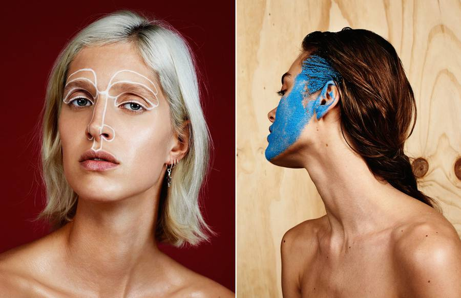 Portraits of Girls with Original Makeup & Powder on their Faces