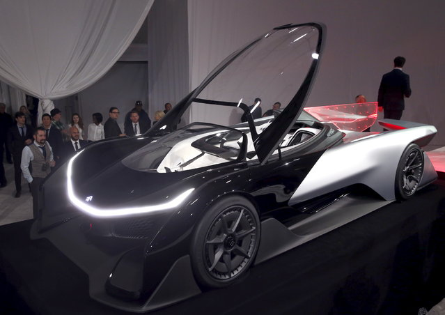 The Faraday Future FFZERO1 electric concept car is shown after an unveiling at a news conference in