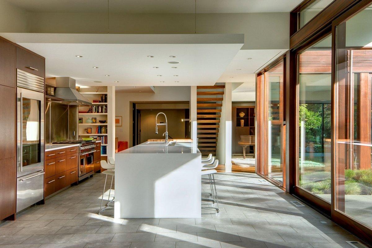 Broadmoor Residence, David Coleman Architecture, реконструкция старого частного дома фото, частные дома в США, панорамные окна в частном доме фото