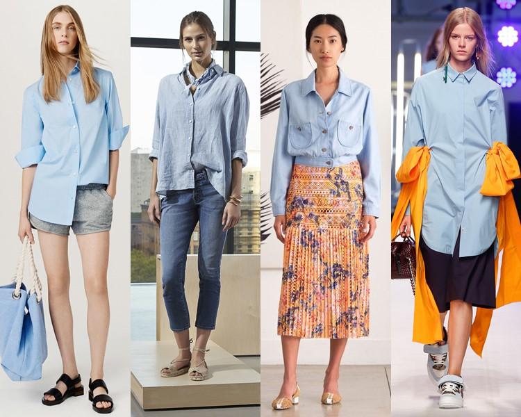Классические голубые рубашки весна лето 2016