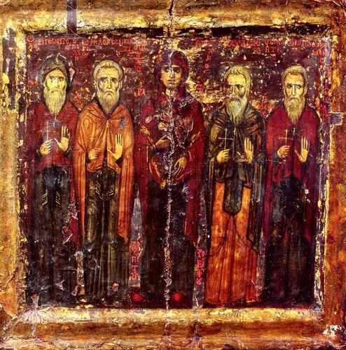 Богоматерь Кириотисса и Синайские Преподобные. Иконописец Пётр. 1230 - 1240-е годы. Монастырь Святой Екатерины на Синае.