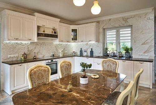 020 кухня, столовая, столешницы из мрамора