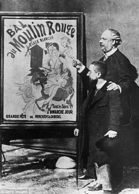 8. Французский художник Анри де Тулуз-Лотрек и управляющий кабаре рядом с новой афишей.