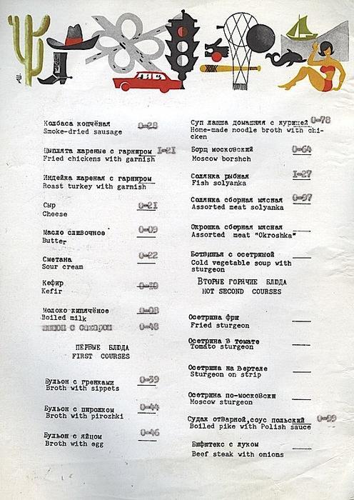 Меню популярных советских ресторанов и кафе