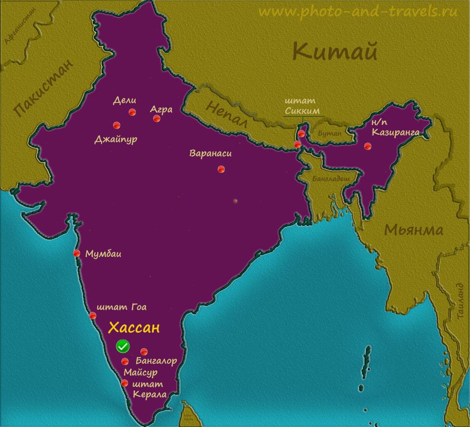 1 Карта Индии с планом расположения основных достопримечательностей, описанных на странице блога.