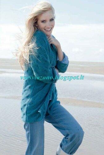 Жакет с косами в джинсовом стиле, связанный поперек. Легко!