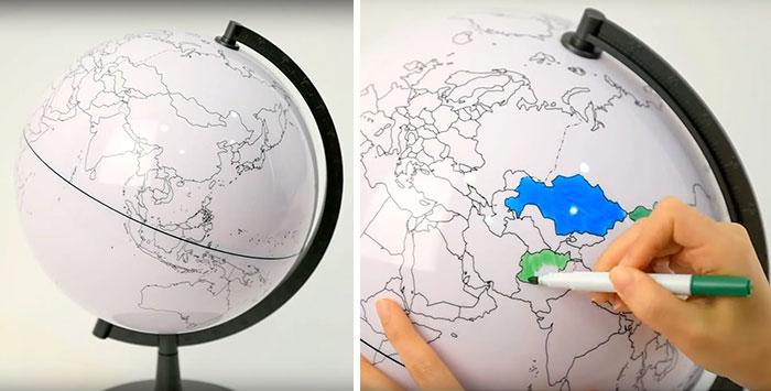 Белый глобус , на котором нужно закрашивать посещенные страны.