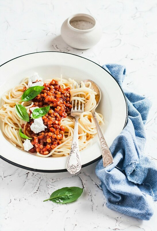 spaghetti with vegetarian lentil bolognese...