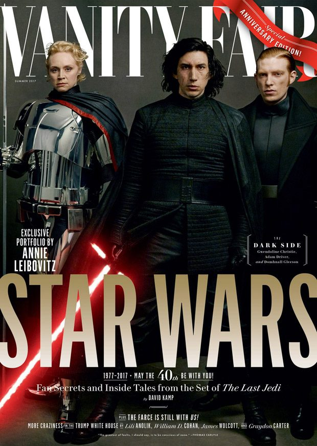 First Order leaders Captain Phasma, Kylo Ren, and General Hux, played by Gwendoline Christie , Adam