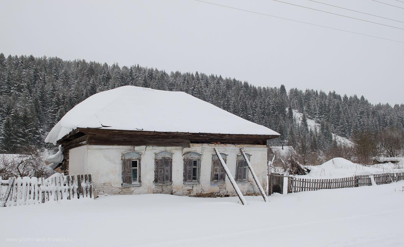 Снимок 33. Эх, нужно было снять крупным планом окно в этом доме. Колоритные ставни! Зимняя фотосъемка на зеркальную камеру Nikon D5100.