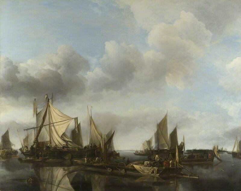 A River Scene with a Large Ferry and Numerous Dutch Vessels at Anchor