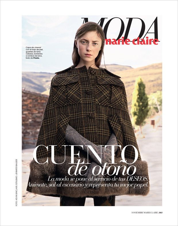 Julia Kuzka Models Fall Fashion for Marie Claire Spain November Issue