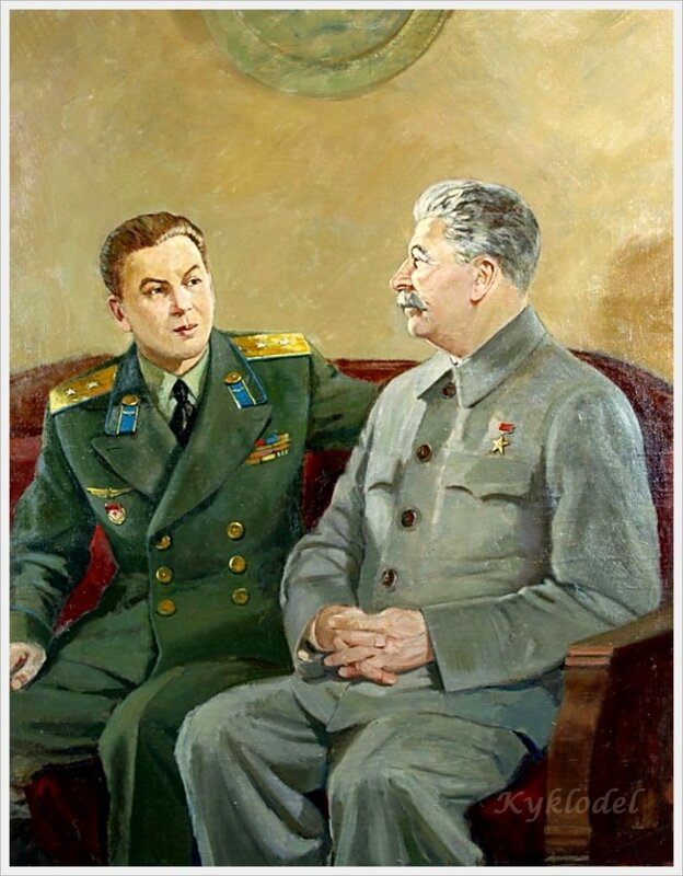 Аладжалов. И.В. Сталин с сыном Василием.
