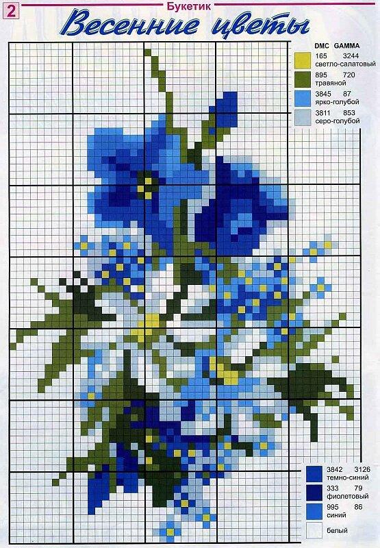 Вышивание крестиком схемы цветы бесплатно