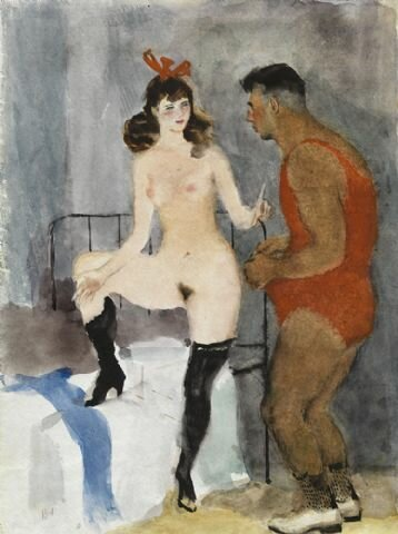 A girl with a Turkish wrestler_ by Vladimir Vasilievich Lebedev(1891-1967)
