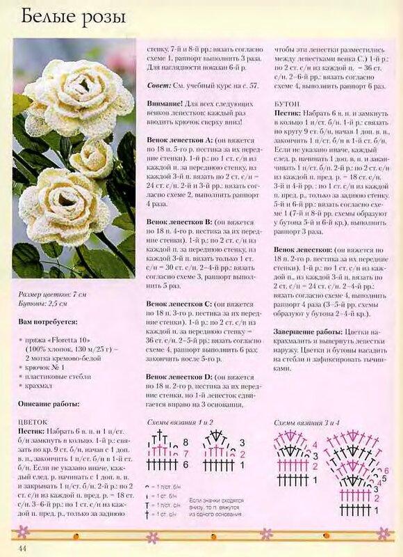 Вяжем розы схемы с