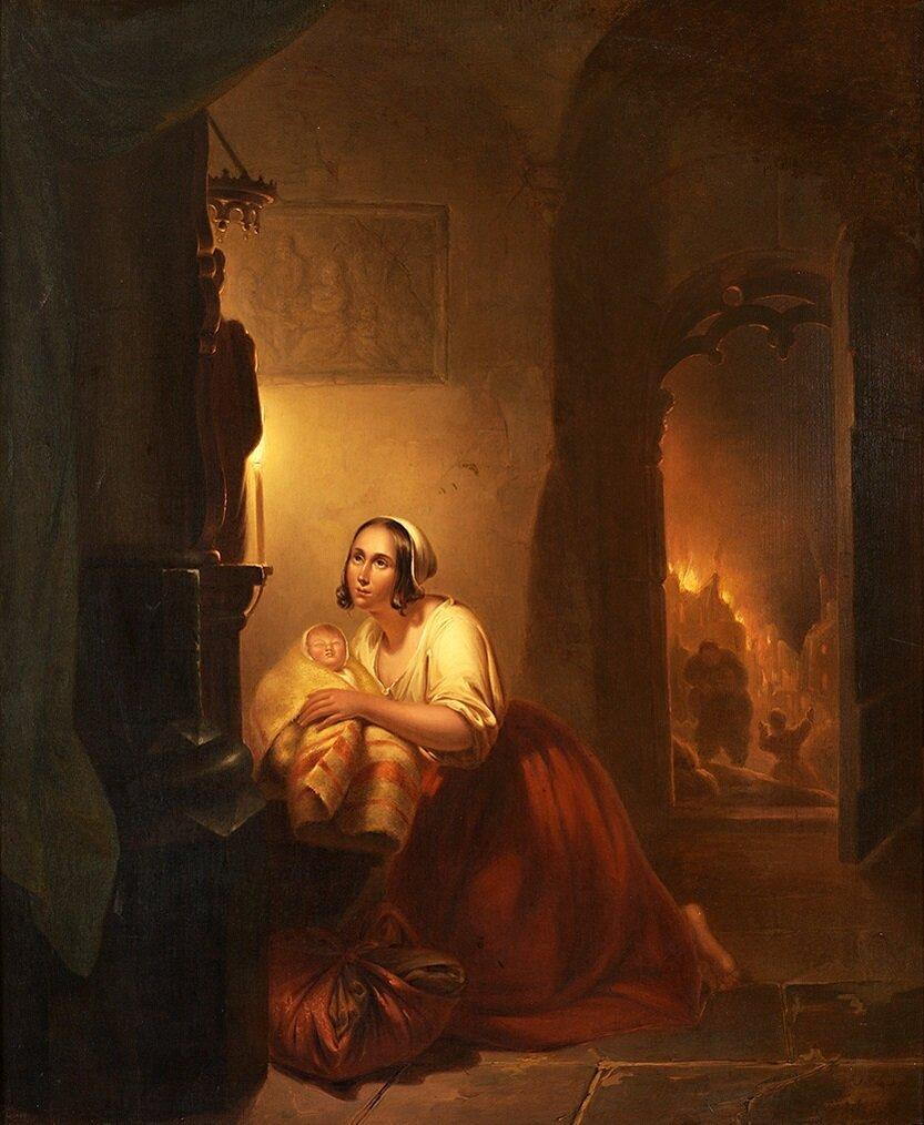 Petrus Kiers (1807-1875)_Mutter_und_Kind_in_Kirche_bei_Feuer.jpg