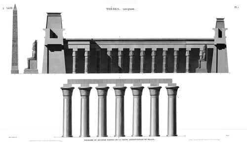 Храм Амона в Луксоре, верхний Нил, разрезы второго двора