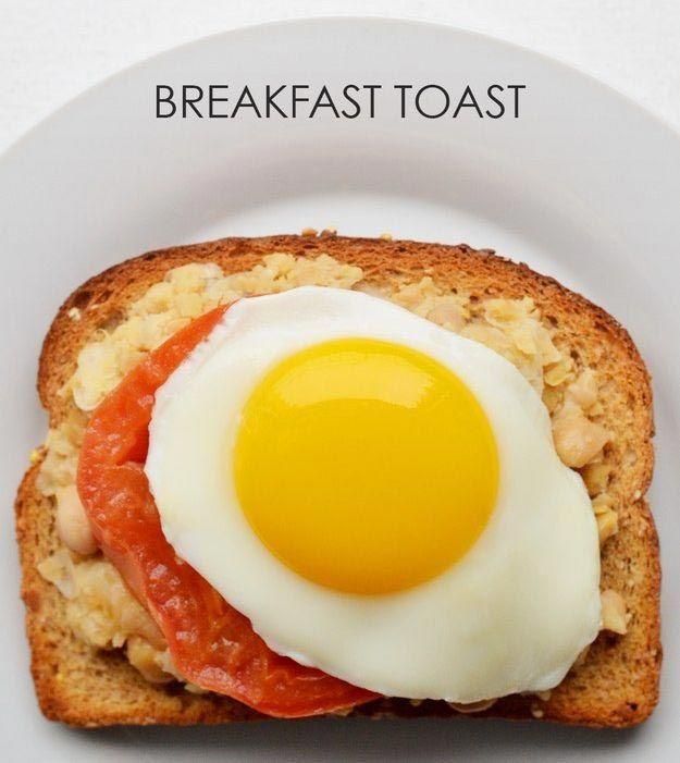 15. Пюре из нута + помидор + жареное яйцо