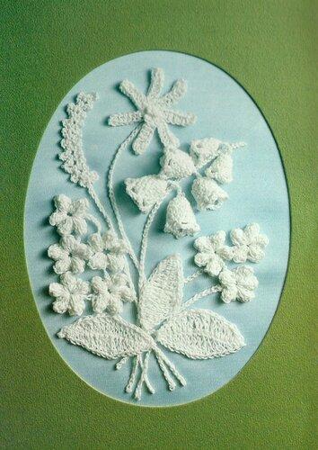 Открытка с вязаными цветами