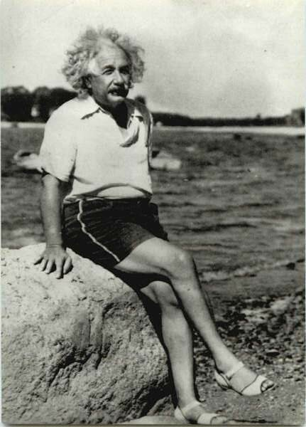 Einstein on the beach. Photo by Reginald Donahue. Nassau Point, New York, September 1939.