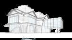 Двухэтажный жилой дом с мансардой, 29х12. Консольное нависание балконов второго этажа, Широкое остекление в пол.