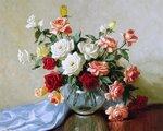 A. D. Greer, букет смешанных роз в вазе