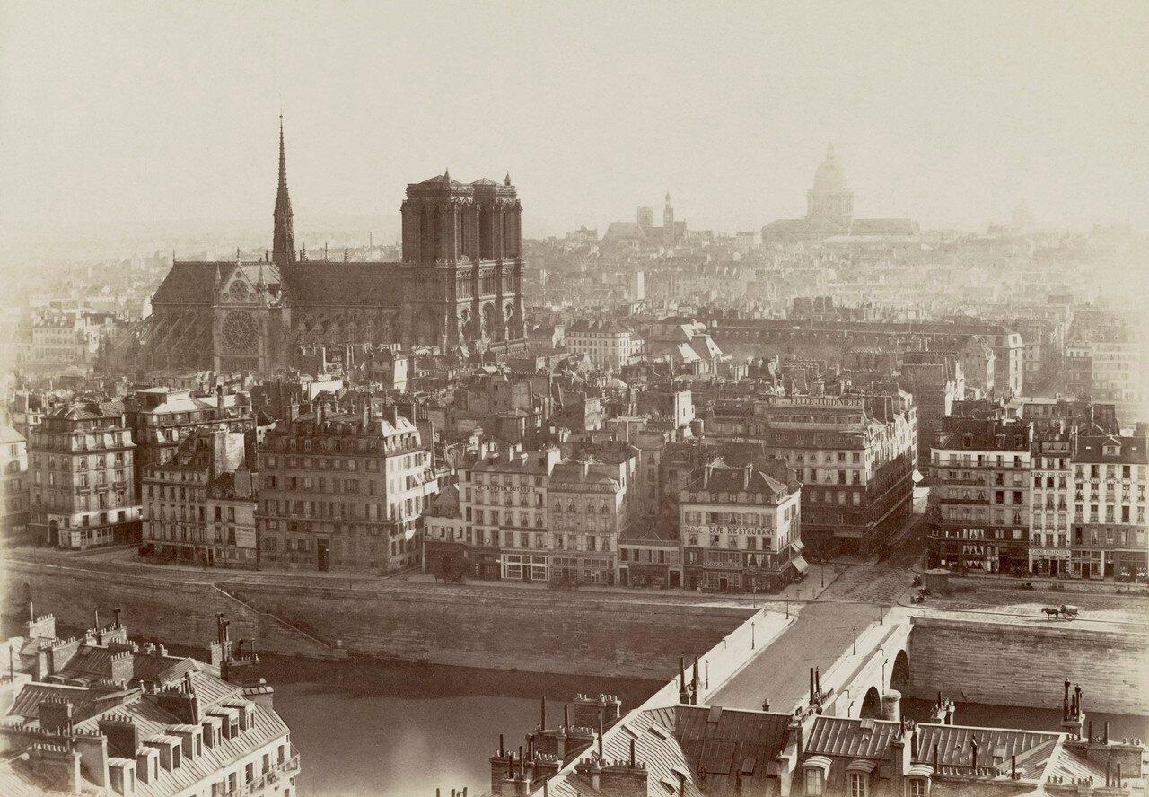 1865. Панорама города с собором Нотр-Дам