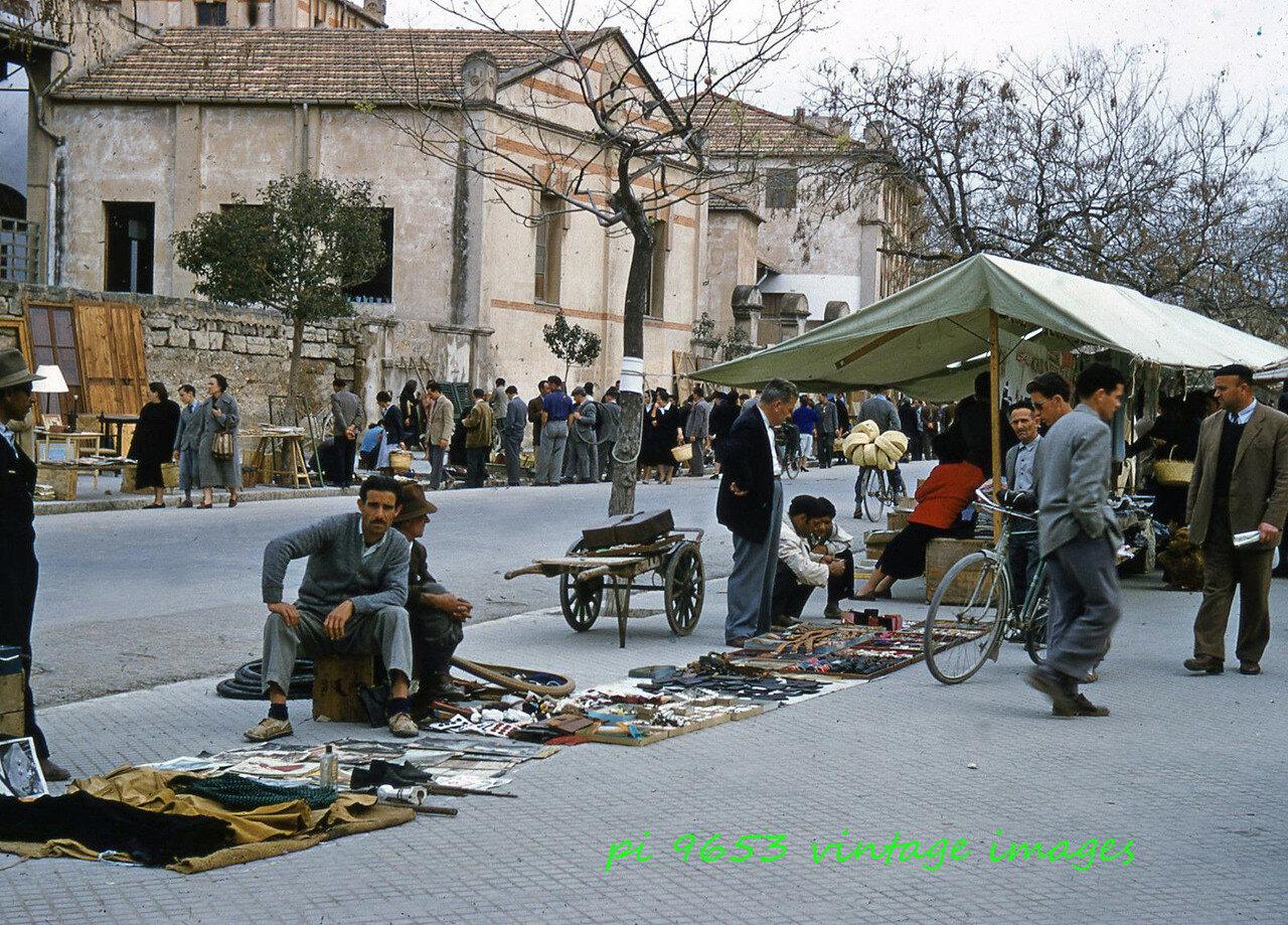 1950s Spain, Palma. Sidewalk Merchants.JPG